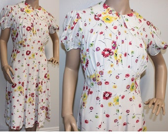 Vintage 1940s floral rayon day swing dress large 324