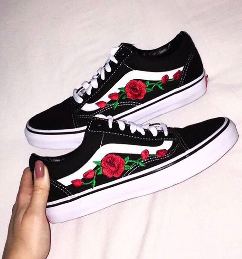6163acdadbe896 Red ROSE EMBROIDERED Old Skool Vans Off the Wall Sneakers New