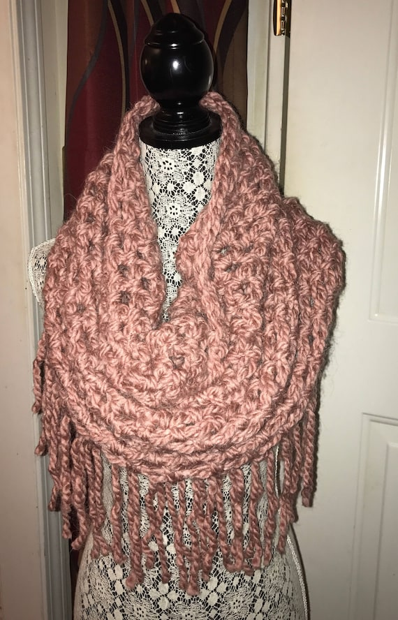 Crochet Cowl Neck Scarf With Fringe Pink Etsy