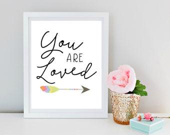 You are Loved, Woodland Nursery, Wall Art, Girls Room Decor, Arrow Print, Nursery Decor, Typography Print, Home Decor, Wall art