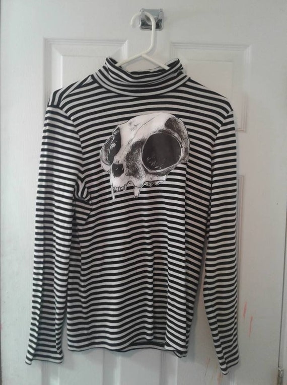 One Of A Kind It Brand Cat Skull Turtleneck Sweater Etsy