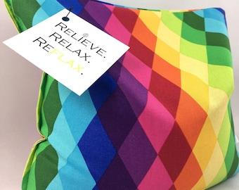 Square Heat Pack Heating Pad Reflaxation Rainbow Diamonds Harlequin Check Checkered Flaxseed Warmer