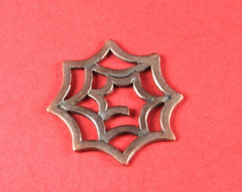 2/10 MADE in EUROPE copper pendant, spider's web pendant, metal spider's web pendant (X5110AC) Qty1