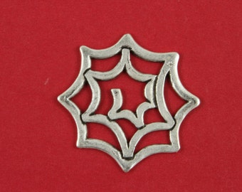 7/8 MADE in EUROPE silver pendant, spider's web pendant, metal spider's web pendant (X5110AS) Qty1