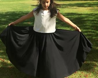 Girls Black Skirt, Toddler Skirt, Toddler Pink Maxi Skirt,  Girls Full Circle Skirt, Twirling Skirt, Maxi Skirt, Long Skirt.