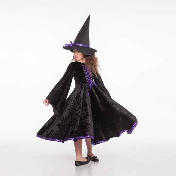 Witch Costume Black And Purple Witch Costume Girls Toddler Etsy