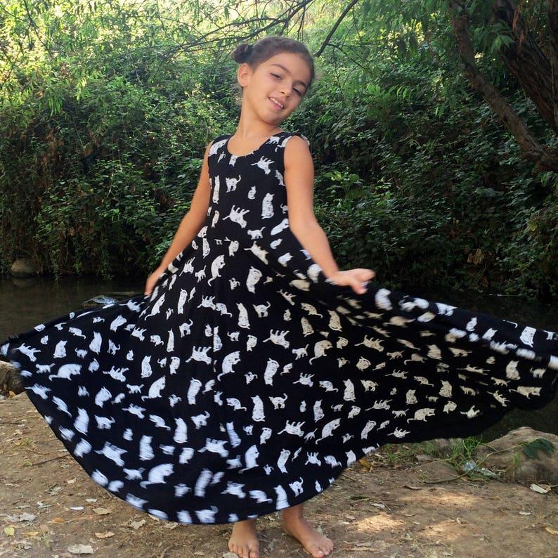 check out 033fc 55cc8 Ragazze in abito nero, le ragazze vestono, vestito del gatto, Twirling  vestito nero, Abito Maxi ragazze, Toddler Dress, manica lunga Abito per le  ...