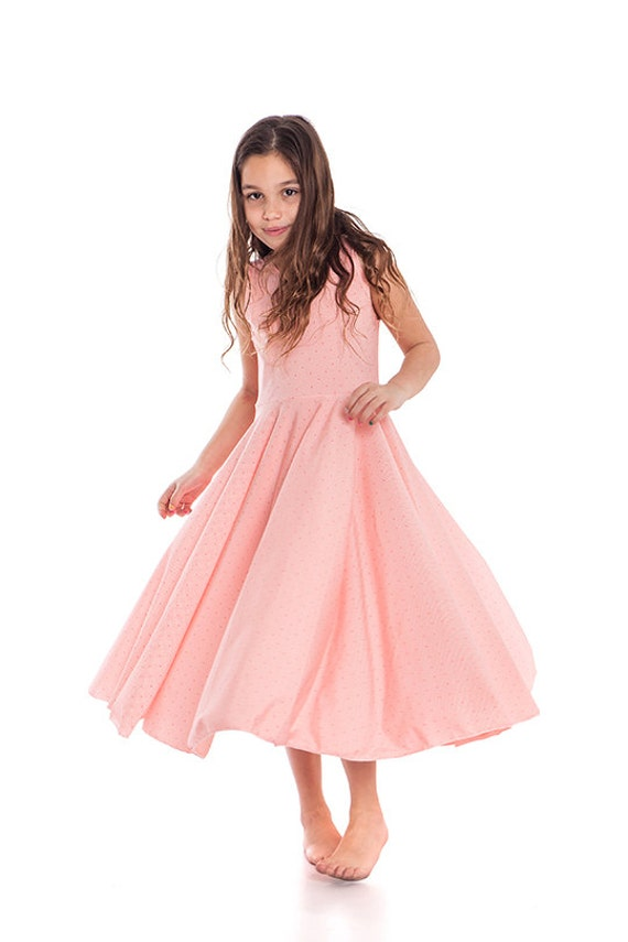 Maxi Dress For Girls ,Peach Colored Twirling Dress, Girls Dresses Size 9,  10, 11, 12 Age 9, 10, 11, 12, Spring Dress Girl, Twirl Dress