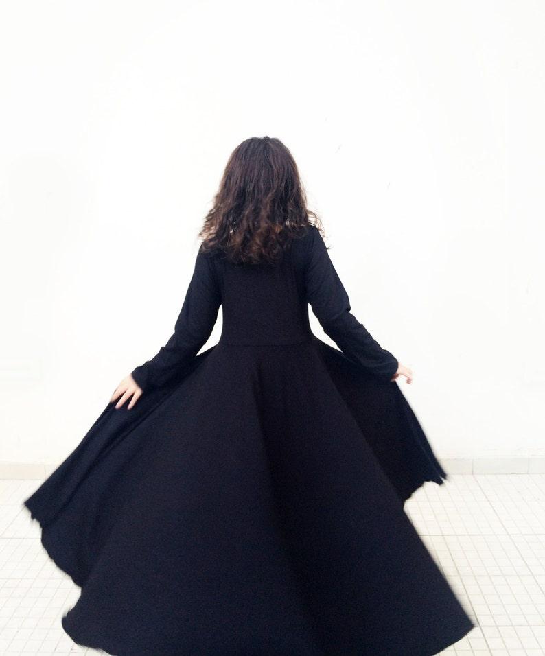 68d1d15cb555 Manica lunga vestito nero le ragazze vestono vestito nero