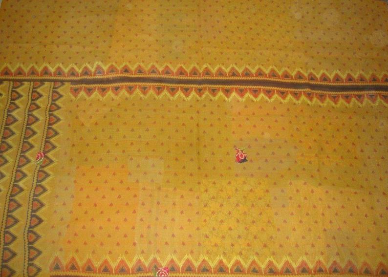 Fine Vintage Kantha Quilt Reversible Cotton Throw Bohemian Bedspread Indian Quilt Bedding E1401