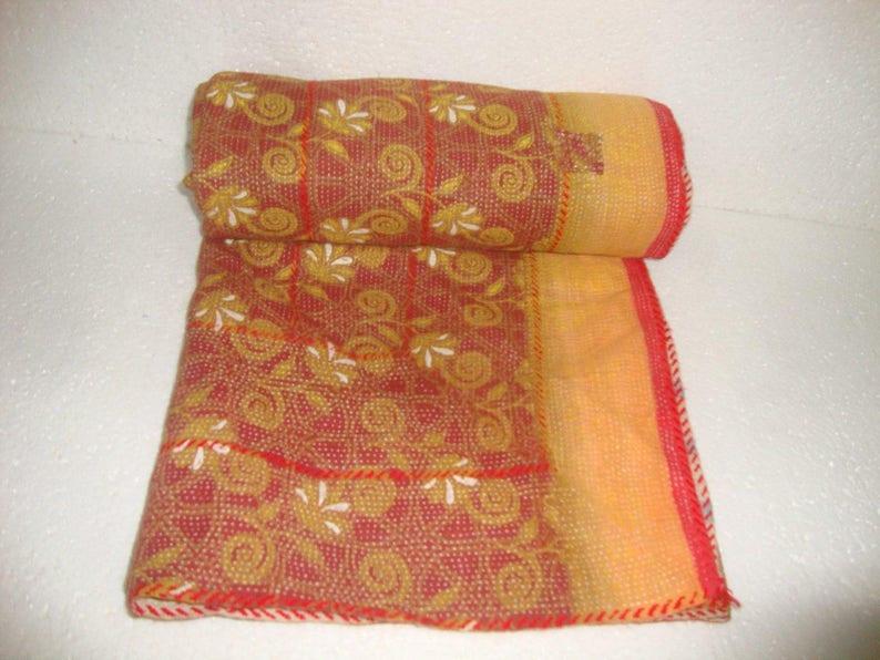Fine Vintage Kantha Quilt Reversible Cotton Throw Bohemian Bedspread Indian Quilt Bedding E1370