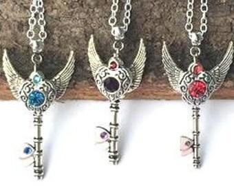 Girl's Skeleton Key Necklace/Set Crystal Heart
