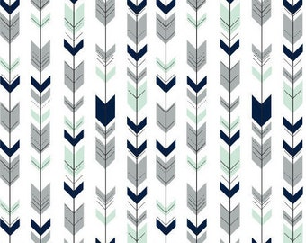 Fitted Crib Sheet- Baby Boy Crib Sheets- Arrow Crib Sheets- Woodland Nursery- Navy Baby Bedding