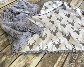 Deer Minky Baby Blanket- Baby Boy- Baby Girl- Woodland- Nursery