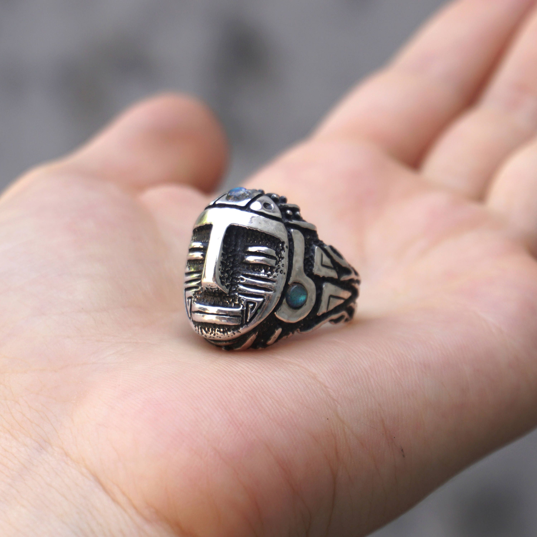 Mens Sterling Silver Aztec Labradorite Ring Aztec | Etsy