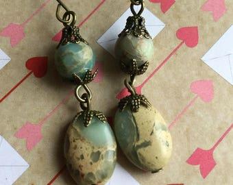 Beautiful Snakeskin jasper earrings
