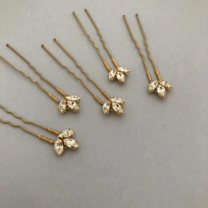 bridesmaid hair pins Bridal hair pins bridal headpiece crystal hair pins gold headpiece || Ash gold hair pins