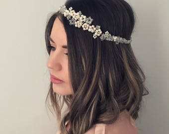 Freshwater Pearl Bridal Headpiece, Bridal Hair Vine, Silver Hair Vine, Bridal Halo