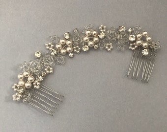 Flower Bridal Hair Vine, Pearl Hair Vine, Crystal Hair Vine, Silver Hair Vine, Bridal Headpiece, Silver Headpiece, Bridal Hair Comb