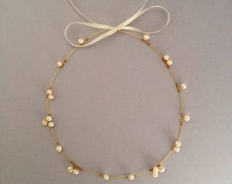 Freshwater Pearl Bridal Hair Vine, Gold Hair vine, Silver Hair Vine, Rose Gold Hair Vine