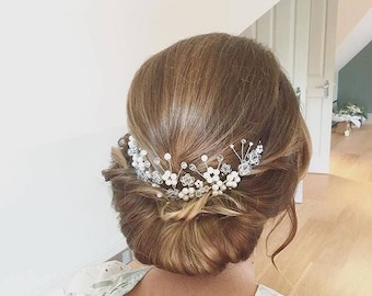 Bridal Hair Vine, Freshwater Pearl Hair Vine, Gold Hair Vine, Silver Hair Vine, Rose Gold Hair Vine