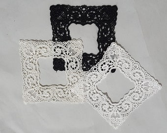 3 x Picture Frames Appliques ,white, Black, Ivory