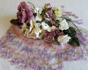 Embellishment pack of lavender beaded fringes,Velvet flowers in vintage colours,mauve,cream, plum