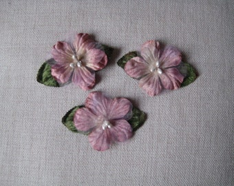 Flower Applique 3 Vintage look Plum flowers with olive leaves for Millinery, Brooches, Hair Clips, Scrapbooking
