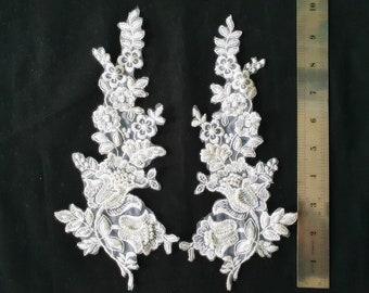 Bridal Pearl Lace, Organza Applique, beaded organza applique