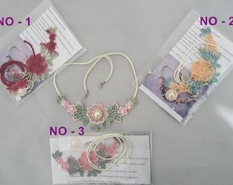 Hand dyed lace , Venice lace, Necklace, Kits ,DIY