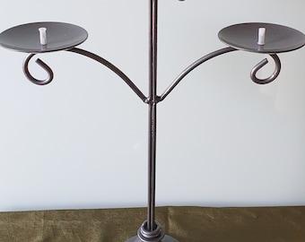 Wrought Iron Candelabra, 3 Tier, Pillar Candle Holder, Black Candelabra, Table Top Candelabra