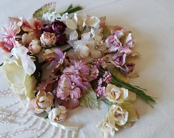 Long Pearl beaded fringing with Velvet flowers, mixed pack, millinery, flower crowns, corsage
