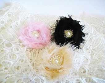 Lace flower hair clip Lace Flower For DIY Projects Flower Girls Headband, Baby Girl Headband, Christening Hair Bow