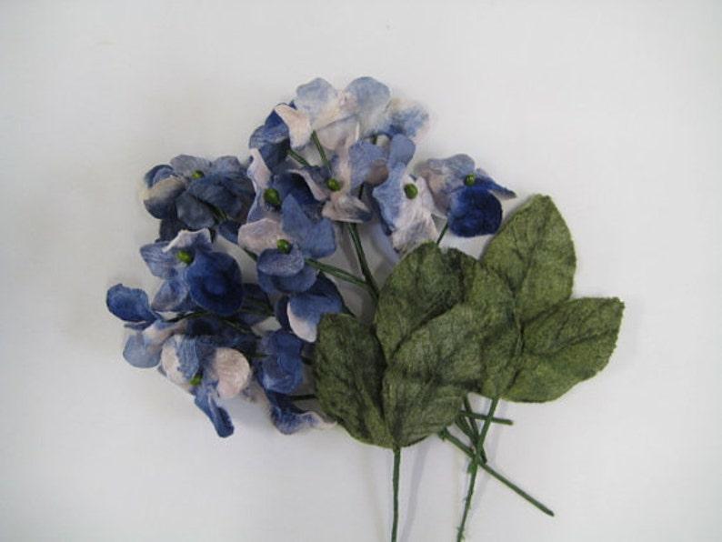 24 Velvet hydrangea flowers vintage blue and white  vintage image 0