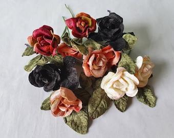 15 Velvet Roses. Velvet flowers. Velvet leaves. Millinery flowers. Flower crowns. Millinery supply. Vintage millinery.