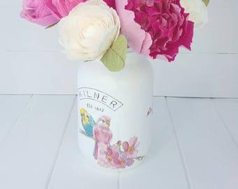 Budgie Kilner Mason Jar, Budgie Vase, Budgie Mason Jar, Bird Kilner Jar, Bird Vase, Bird Mason Jar, Budgie Decor, Bird Decor