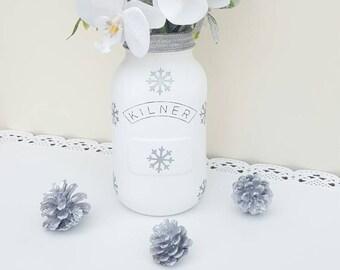 Snowflake Christmas Kilner Mason Jar - Choice of colours available. Christmas Decor