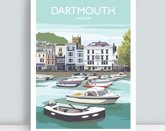 Dartmouth Harbour, South Devon. HAND SIGNED Art Print/Travel Poster by Julia Seaton.