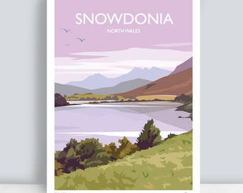 Snowdonia, North Wales. Travel Art Print/Poster by JuliaSIllustration.