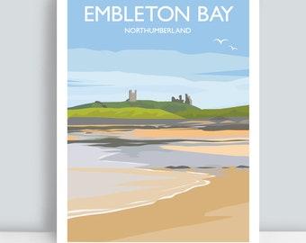 Embleton Bay, Featuring Dunstanburgh Castle, Northumberland. HAND SIGNED Art Print/Travel Poster.