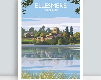 Ellesmere, (The Mere), Shropshire. HAND SIGNED Art Print/Travel Poster by Julia S Illustration.