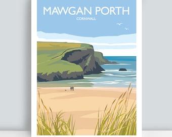 Mawgan Porth, Cornwall. HAND SIGNED Art Print/Travel Poster by Julia Seaton.