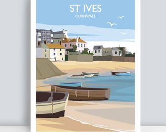 St Ives, Cornwall. HAND SIGNED Art Print/Travel Poster by Julia S Illustration.