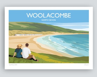 Woolacombe, North Devon. HAND SIGNED Art Print/Travel Poster by Julia S Illustration.