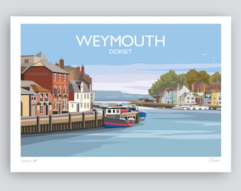 Weymouth, Dorset. The Harbour. HAND SIGNED Art Print/Travel Poster by Julia S Illustration.
