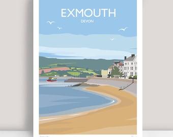 Exmouth, Devon Print. HAND SIGNED Art Print/Travel Poster by Julia S Illustration.