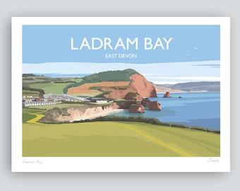 Ladram Bay, East Devon. HAND SIGNED Art Print/Travel Poster by Julia Seaton.