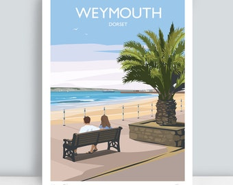 Weymouth, Dorset. HAND SIGNED Art Print/Travel Poster by Julia S Illustration.