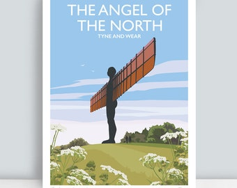 The Angel of the North, Tyne and Wear. HAND SIGNED Art Print/Travel Poster by Julia Seaton.