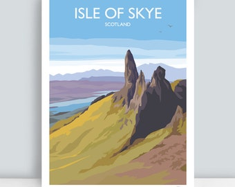 Isle of Skye, Scotland (The Old Man of Storr). HAND SIGNED Art Print/Travel Poster by JuliaS Illustration.
